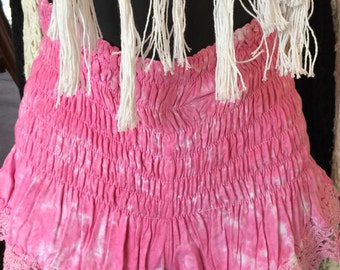 Pink crochet trim shorts