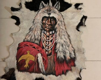 Hand painted goatskin. Indian chief
