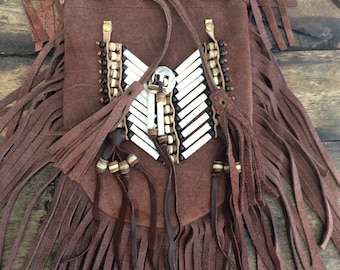 Brown suede fringe bag