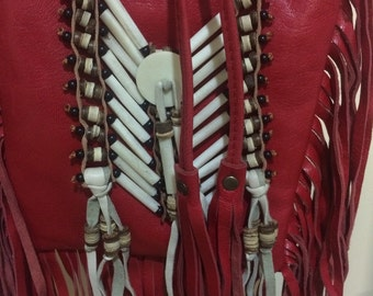 Red leather gypsy bag