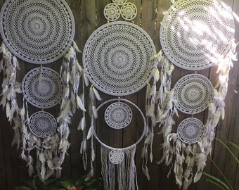 3 x extra large white dreamcatchers  perfect for boho weddings