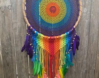 Rainbow macrame dreamcatcher 45 cm