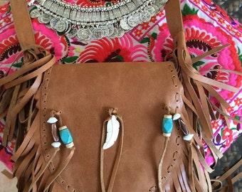 Leather feather fringe bag  double zip