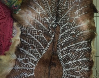 Peacock design Handcarved goat skin