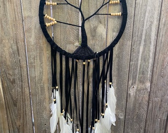 Tree of life dreamcatcher.  Black 32 cm