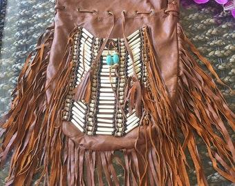 Genuine leather fringe bag