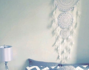 3 tier dreamcatcher - white crochet