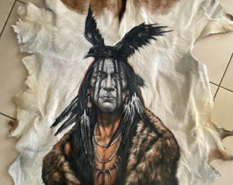 Hand painted big chief goathide