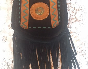 Black suede fringe bag