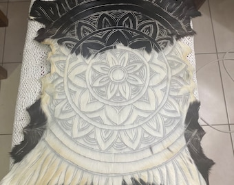 Black and white mandala goatskin.