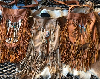 Leather fringe bags wholesale lot   3 bags