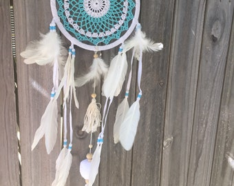 Turquoise blue  / white  dreamcatcher
