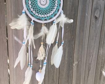 Turquoise blue  / white  dreamcatcher
