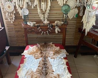 Caramel and cream colour mandala Handcarved goat skin