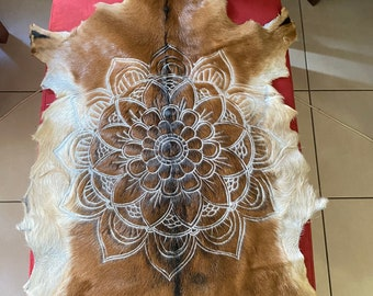 Mandala design handcarved goat skin