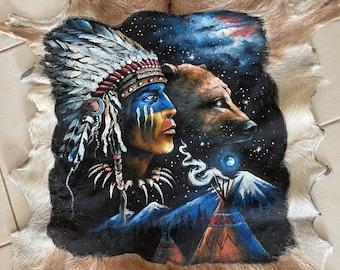 Native American Indian - handpainted goathide.
