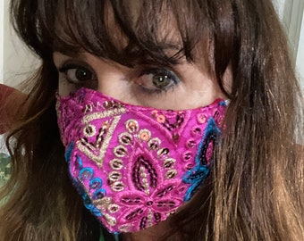 Pink boho Bollywood mask