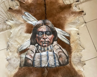 Native American Indian - handpainted goathide