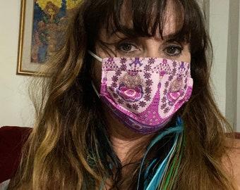 Pink boho face mask