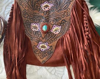Rust suede and leather fringed shoulder bag