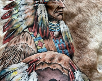 Hand painted big chief goat hide