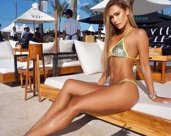 Shimmer neon yellow brazilian bikini