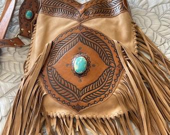 Leather fringe turquoise bag