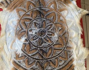 Mandala design hand carved goatskin
