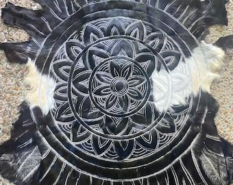 Black and white mandala hand carved goathides.