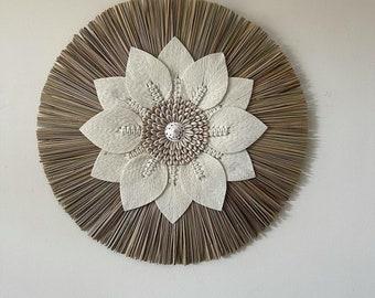 Mandala. Macrame shell wall feature