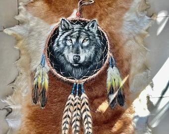 Handpainted wolf design. Goathide