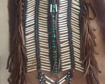 Chest plate turquoise bead