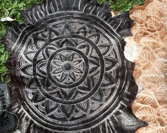 Mandala design  handcarved goatskin
