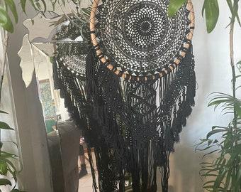 Large black macrame dreamcatcher