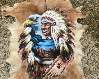 Big chief Indian.   Handpainted goat hide