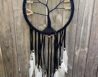 Tree of life dreamcatcher.  Black 32 cm
