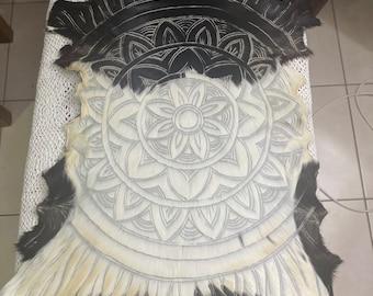 Black and white mandala goatskin.