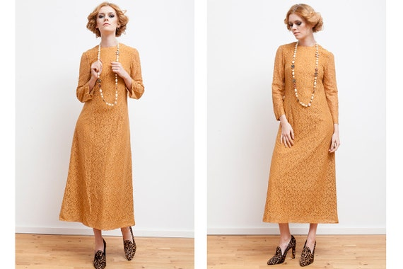 Maxi Long mustard dress from 70s