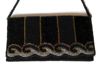 Vintage Black Gold  Beaded Evening Bag by Magid