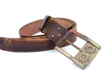 Modernist Buckle Distressed Brown Leather Belt by Sebastian Spain