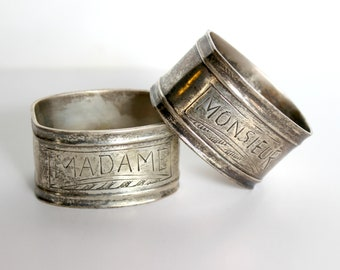 2 Vintage Silverplate Napkin Rings Monsiuer and Madame Mr and Mrs