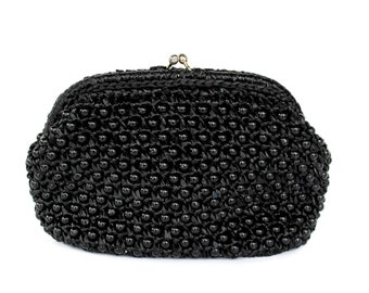 Vintage Black Straw Beaded Clutch by Rosenfeld