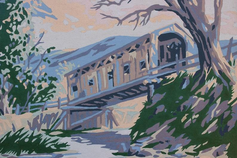 Vintage Paint By Number Landscape Covered Bridge