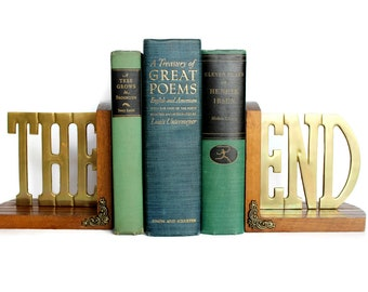 Vintage The End Bookends Brass with Wood Base