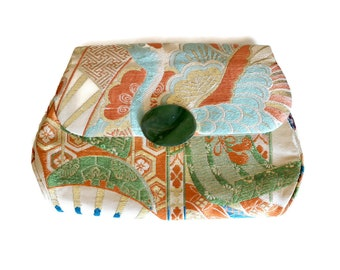 Vintage Gump's Obi Clutch Purse Silk Brocade Japanese Textile with Green Stone Clasp
