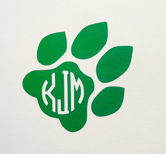Ohio University Monogrammed Bobcat Paw Print I Vinyl Decal Etsy