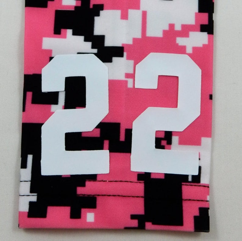 b575bc9a1a24a Custom Number (PICK YOUR NUMBER) Hot Pink Black White Camo Elite Sports Arm  Sleeve Digital Basketball Football Baseball Soccer Softball