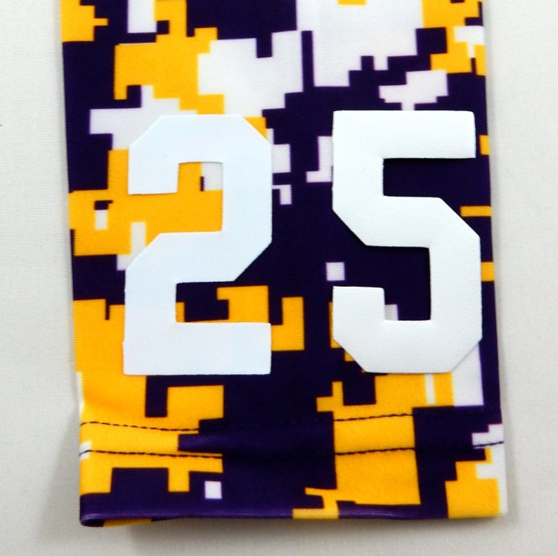 193ca66a19b2c Custom Number (PICK YOUR NUMBER) Purple Yellow White Camo Elite Sports Arm  Sleeve Digital Basketball Football Baseball Soccer Softball