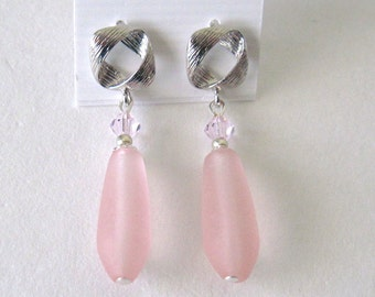 pink and silver earrings      pink earrings  post earrings silver earrings