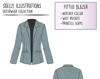 6abfdd000dd0 Fashion Technical Vector Illustration - Womens Fitted Blazer Jacket -  Sketch for Fashion Design Linesheets Tech Packs